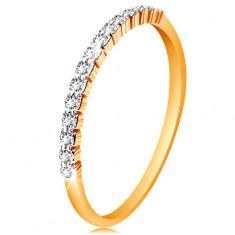 14-k zlati prstan - pas bleščečih prozornih cirkonov, sijoča kraka