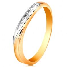 Dvobarven prstan iz 14-k zlata - val iz belega zlata in drobni prozorni cirkoni