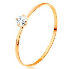 Prstan iz 14-k rumenega zlata - tanka kraka, okrogel prozoren diamant