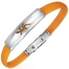 Ploščata zapestnica iz gume - kuščar, oranžna