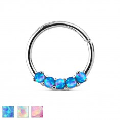 Jeklen piercing srebrne barve, sijoč krog z umetnimi opali
