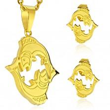 Komplet iz jekla 316 L zlate barve - obesek in uhani, zodiakalno znamenje RIBI