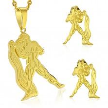 Jeklen komplet zlate barve - obesek in vtični uhani, zodiakalno znamenje VODNAR