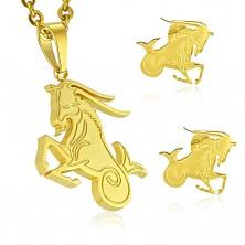 Komplet iz kirurškega jekla zlate barve, obesek in uhani, zodiakalno znamenje KOZOROG