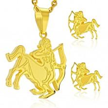Jeklen komplet zlate barve, uhani in obesek, zodiakalno znamenje STRELEC