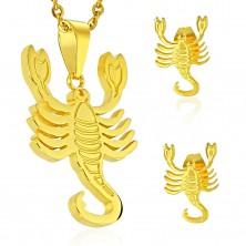 Komplet iz jekla 316 L zlate barve - obesek in uhani, zodiakalno znamenje ŠKORPIJON
