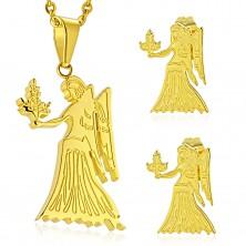 Jeklen komplet zlate barve, obesek in uhani, zodiakalno znamenje DEVICA