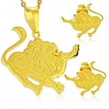 Jeklen komplet zlate barve, uhani in obesek, zodiakalno znamenje LEV