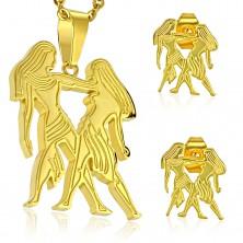 Komplet iz kirurškega jekla zlate barve, obesek in uhani, zodiakalno znamenje DVOJČKA