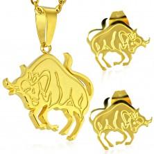 Jeklen komplet zlate barve - obesek in vtični uhani, zodiakalno znamenje BIK