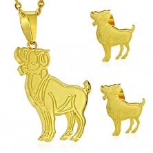 Komplet iz jekla 316 L zlate barve - obesek in uhani, zodiakalno znamenje OVEN