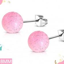Vtični uhani iz jekla, svetlo rožnati akrilni kroglici z bleščicami