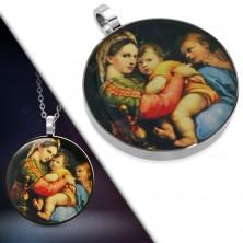 Obesek iz jekla 316 L - okrogla sličica Marije z otrokom v naročju