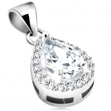 Obesek iz srebra 925, rodijeva prevleka, prozoren cirkon v obliki solze, obroba iz drobnih cirkonov