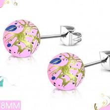 Uhani iz kirurškega jekla, rožnati akrilni kroglici z barvnimi pikami in linijami