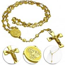 Jeklena ogrlica zlate barve - rožni venec z medaljonom svete Marije in križem