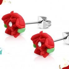 Jekleni vtični uhani, rdeča vrtnica iz modelirne mase FIMO, prozoren cirkon na sredini