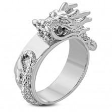 Masiven jeklen prstan srebrne barve, sijoč izbočen kitajski zmaj