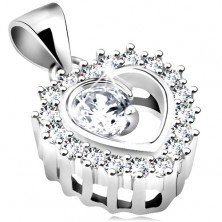 Rhodium plated pendant made of 925 silver, clear heart contour, round sparkly zircon