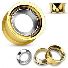 Jeklen tunel za uho zlate barve s krogom srebrne barve, visok sijaj