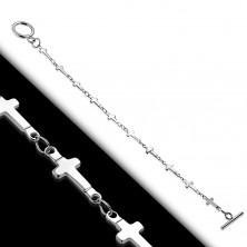 Zapestnica srebrne barve iz jekla 316 L, sijoči križci