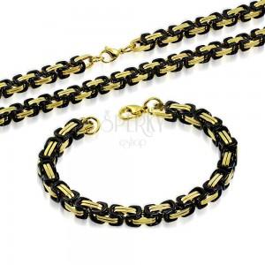 Komplet iz jekla 316 L - ogrlica in zapestnica, členi črne in zlate barve