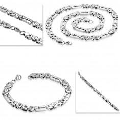 Komplet iz jekla 316 L srebrne barve - ogrlica in zapestnica, pravokotniki s križi