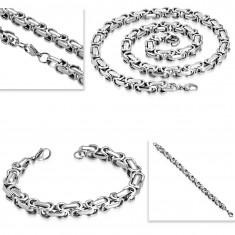 Jeklena ogrlica in zapestnica, debela oglata verižica srebrne barve