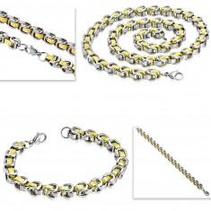 Komplet iz kirurškega jekla - ogrlica z zapestnico, dvobarvni členi, grški ključ