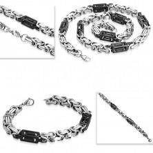 Komplet iz jekla 316 L - ogrlica in zapestnica, dvobarvni členi, izrezi