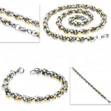 Jeklen komplet - ogrlica z zapestnico, dvobarvni ovalni členi