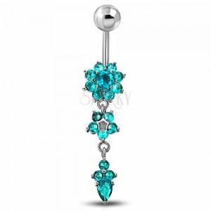 Piercing za popek iz kirurškega jekla, cirkonska cvetova modre barve