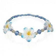 Zapestnica iz bunkic iz mase fimo z rožami modre barve
