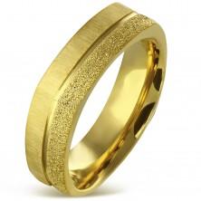 Oglat prstan iz kirurškega jekla zlate barve - peskan in satenast pas, 7 mm