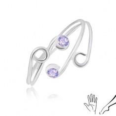 Prstan iz srebra 925 za prste na roki ali nogi, tanka kraka z vijoličastimi cirkoni