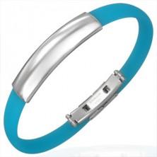 Modra gumijasta obročasta zapestnica - gladka ploščica