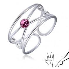 Prstan iz srebra 925 - okrogel svetlo vijoličast cirkon, dvojna zanka
