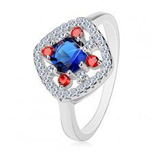 Prstan iz srebra 925, temno modro jedro, prozorni in rdeči cirkoni