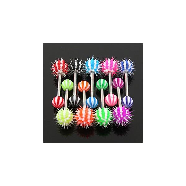Piercing za jezik - barven progast ježek