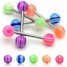 Piercing za jezik - večbarvna UV-kroglica