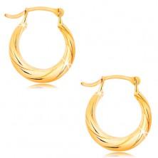 Okrogli uhani iz 14-k rumenega zlata – motiv zvite vrvi, visoki sijaj