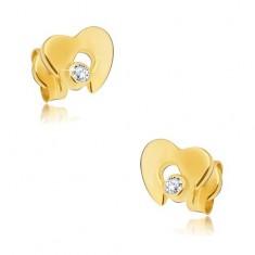 Diamantni uhani iz 14-k rumenega zlata - sijoče srce z izrezom in prozornim briljantom