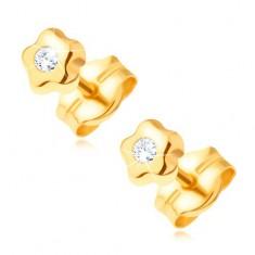 14-k zlati uhani - droben cvet s sijočim prozornim diamantom