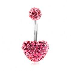 Jekleni piercing za popek, kroglica in srce, lesketavi rožnati cirkoni