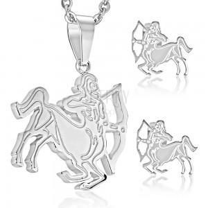 Jekleni komplet srebrne barve, uhani in obesek, zodiakalno znamenje STRELEC