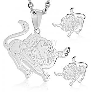Komplet iz jekla 316 L srebrne barve, uhani in obesek, zodiakalno znamenje LEV