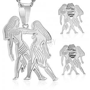 Komplet iz kirurškega jekla srebrne barve, obesek in uhani, zodiakalno znamenje DVOJČKA