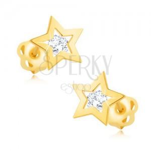 Briljantni uhani iz 14-k rumenega zlata – obris zvezde, prozoren diamant
