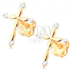 Diamanti uhani iz 14-k zlata – latinski križ, prozorni briljanti