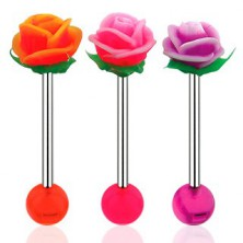 Piercing za jezik, ročka iz jekla 316 L, akrilna kroglica in UV-vrtnica